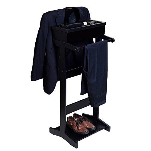 GLS Black Wood Suit Valet Stand Clothes Rack