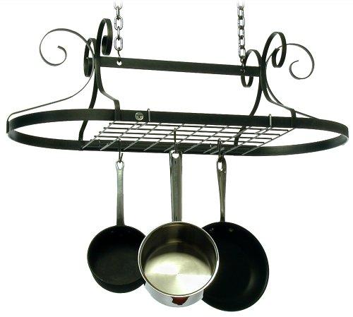 Enclume Decor Oval Ceiling Pot Rack Hammered Steel