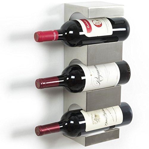 Stainless Steel Wine Rack - Wide Multi Sectional Bottle Holder with Top Shelf Section - Modern Art Design - Wall Mount 3 Bottles