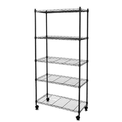 5 Shelf Shelving Adjustable Wire Metal Storage Shelving Rack Kithchen Living Room Bedroom Bathroom Office Shelving Unit Black
