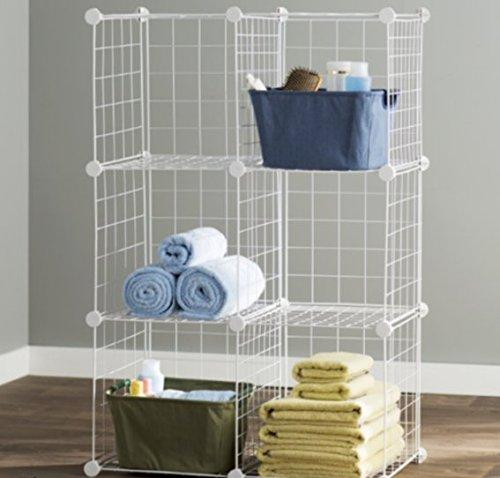 Metal Shelf Unit 6 Cube Mesh Storage Shelving Units And Storage Color White