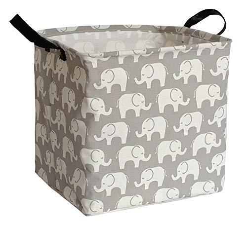 KUNRO Square Storage Basket Waterproof Canvas Kids LaundryNursery Hamper for ShelvesGift BasketsToy OrganizerBaby Room DecorSquare Elephant