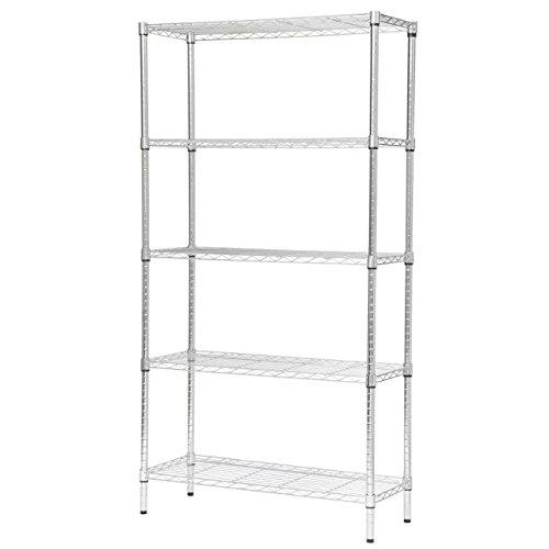 Adjustable Wire Shelving 295 Width x 591 Height x 14 Depth 5 Shelves Chrome
