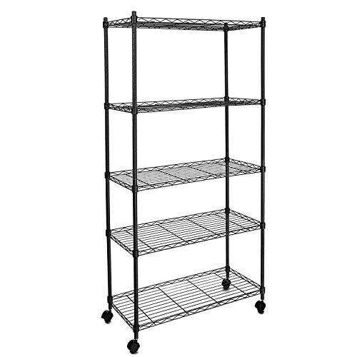 Cheesea Adjustable Wire Shelving 5-Tier Shelf Metal Shelf Unit with Wheels for Kitchen Bedroom Garage Black