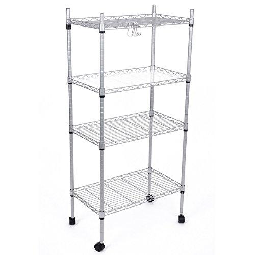 JS Hanger 4-Tier Adjustable Wire Shelving Rack Rolling Storage Shelf Silver