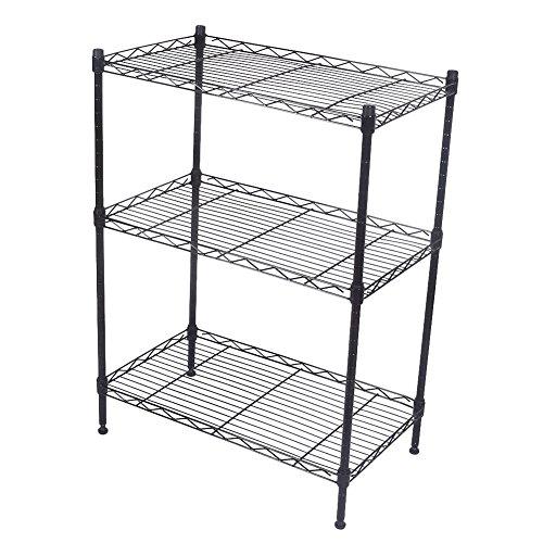 Mallofusa 3 Tier Shelf Rack Adjustable Wire Shelving Unit Rack for Utility Home Garage Kitchen Organization Storage 23 x 30 x 13 Inch LxHxW Black
