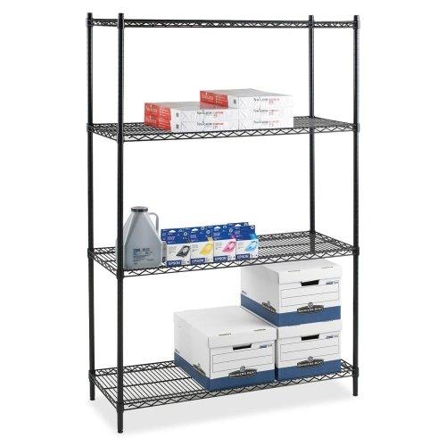Wholesale CASE of 3 - Lorell Industrial Adjustable Wire Shelving-Starter Shelving Unit4 Shelves4 Posts36x24x72BK