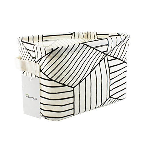 Small Canvas Fabric Foldable Organizer Storage Basket with Handle Collapsible and Convenient for Nursery and Babies Room White