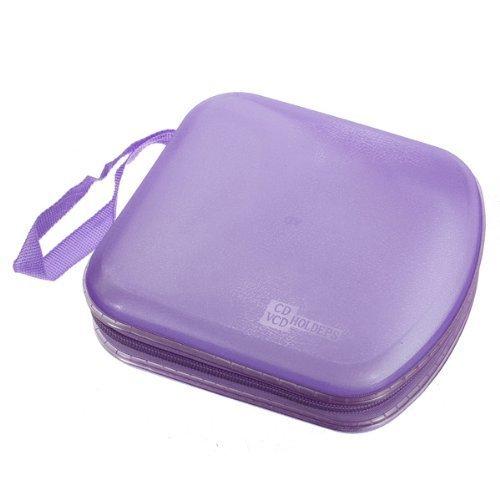 Veewon Fashion Clear Plastic Portable 40 Disc CD DVD Storage Box Zipper Bag Case Hard Boxes Wallet Album Holder Protector Organizer Purple