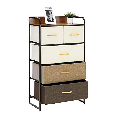 Kamiler 5-Drawer Dresser 4-Tier Storage Organizer Tower Unit for Bedroom Hallway Entryway Closets - Sturdy Steel Frame Wooden Top Removable Fabric Bins