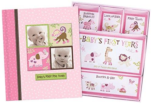 Baby Girl Memory Book Hardcover Record Babys First Five Years Diary Precious Moments Milestone Storage Box Keepsake Scrapbook Journal Photo Album Pink Monkey Animals Art
