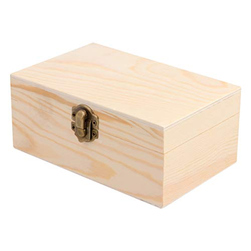 Exceart Wooden Jewelry Box with Lid Creative DIY Jewelry Craft Storage Box Rectangle 59 x 37 x 25
