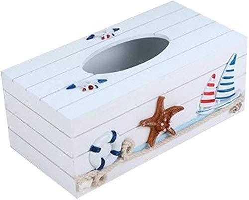 Gflyme KBYX Tissue Box Mediterranean Decorative Tissue Box Wooden Crafts Storage Box Home Desktop Storage Box As Shown