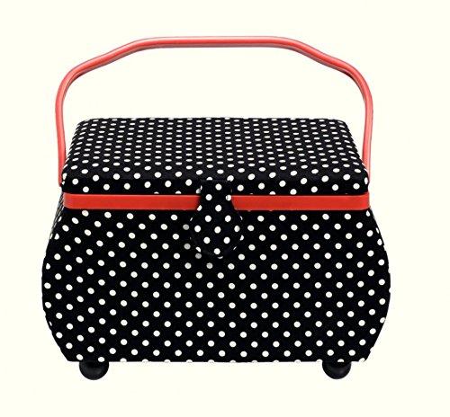 Prym Polka Dot Large Craft Storage Box Black White Red