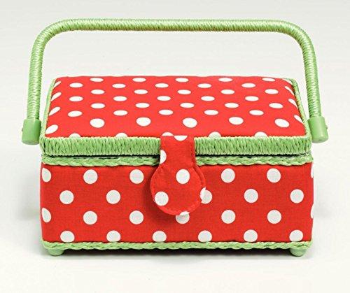 Prym Polka Dot Small Craft Storage Box Red White Green