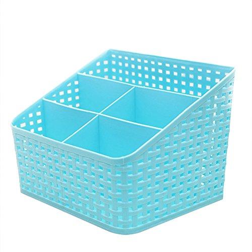 Multi-compartment Storage Box - TOOGOOR Imitation rattan multi-compartment storage box cosmetics desktop remote control debris classification storage box 5-Lattice Blue