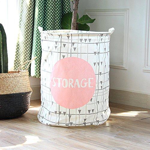 197 Large Sized Waterproof Coating Ramie Cotton Fabric Folding Laundry Hamper Bucket Cylindric Burlap Canvas Storage Basket Pink Stroage