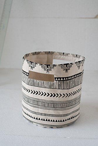 Canvas basket aztec print black and white storage basket fabric bin sizes available 10x10