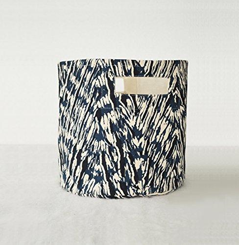 Canvas basket shibori print chevron pattern blue and off white storage basket fabric bin sizes available 10x10