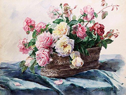 Art watercolor flowers roses pink basket by Madeleine Lemaire Accent Tile Mural Kitchen Bathroom Wall Backsplash Behind Stove Range Sink Splashback One Tile 8x6 Ceramic Glossy
