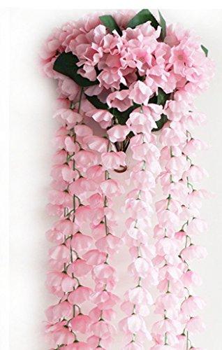 Remeehi Vine Artificial Flowers Wisteria Simulation Rattan Flower Bracketplant String Plant Home Wall Decoration for Wedding PinkBasket
