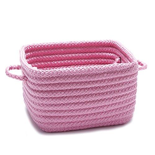 Single Piece Shelf Storage Pink Basket With Handles Flexible And Versatile Great Organizing Nice Pattern Beautiful Designs And Stylish Plastic Polypropylene Material Salmon Rose Fuchsia