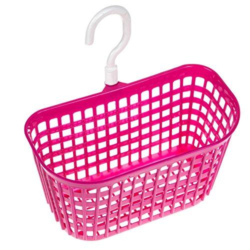 Water Wood Hollow Out Plastic Bathroom Hanging Hook Grid Basket Holder Hot Pink