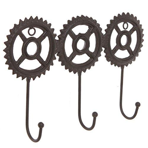 Brown Cast Iron Metal Steampunk Gear Design Wall Mounted 3 Hook Coat Rack  Entryway Hanging Key Hooks