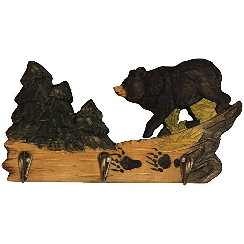 Comfy Hour 6 Forest Animals Hand Carved Wooden Triple Coat Hooks Clothes Rack Decorative Wall Hanger - Black Bear