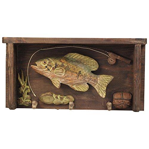 Comfy Hour Hand Carved Wooden Triple Coat Hooks Clothes Rack Decorative Wall Hanger - Coastal Fish