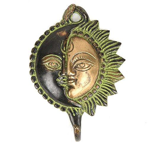 Ethnic Brass Designer Sun Moon Hanging Wall Hook Hanger Key Holder