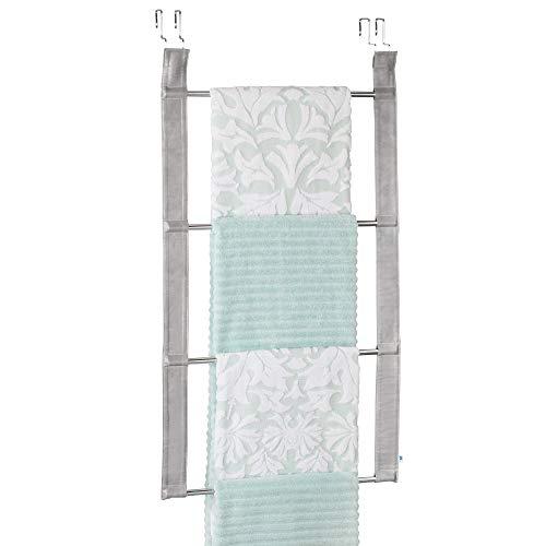 iDesign Lauren Over-the-Door Towel Holder Rack for Bathroom - 4 Bars GrayChrome
