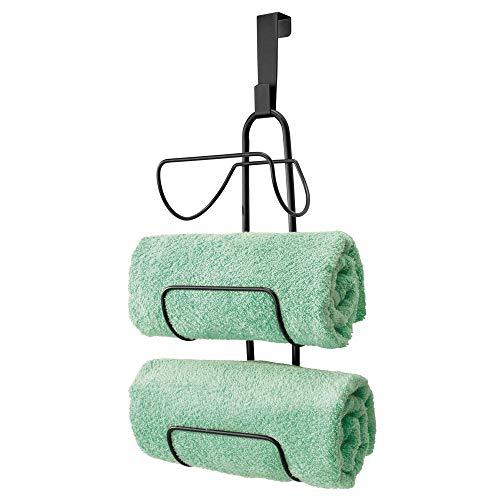 mDesign Modern Decorative Metal Wire Over Shower Door Towel Rack Holder Organizer - for Storage of Bathroom Towels Washcloths Hand Towels - 3 Tiers - Black