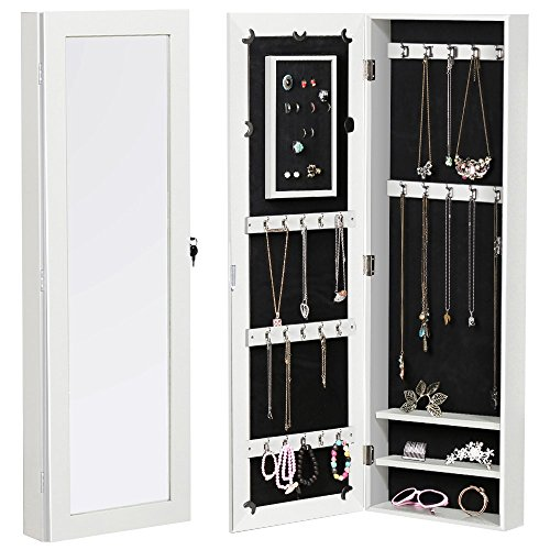 go2buy Wall Mount Mirrored Jewelry Cabinet Armoire Organizer Storage with Lock