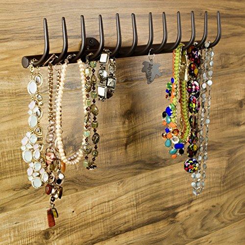 12-Hook Country Garden Rake Design Wall Mounted Metal Jewelry Storage Rack  Necklace Organizer Brown