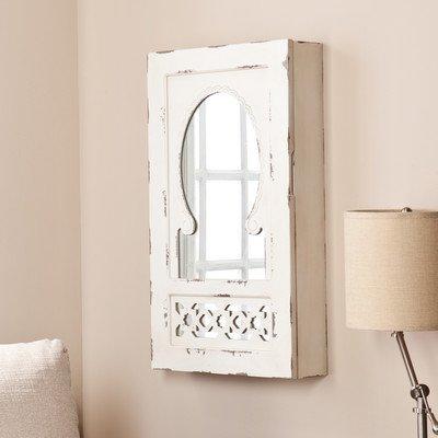 Davida Shabby Elegance Wall Mounted Jewelry Armoire with Mirror