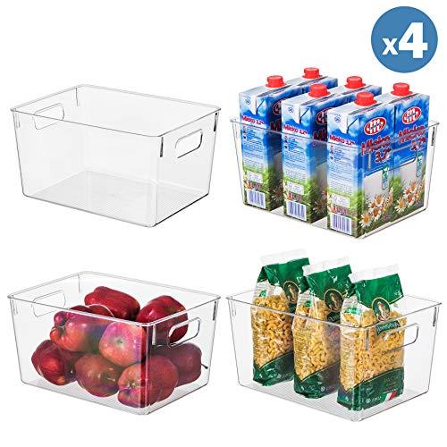 Clear Plastic Storage Organizer Container Bins with Cutout Handles Transparent Set of 4  BPA Free Kitchen Cabinet Storage Bins 11 x 8 x 6 Each