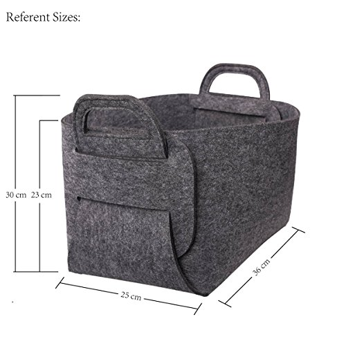 Felt Storage BasketClothes Basket with HandlesManual Organizer for HomeOfficeDormitory-CollapsibleGrey OIF