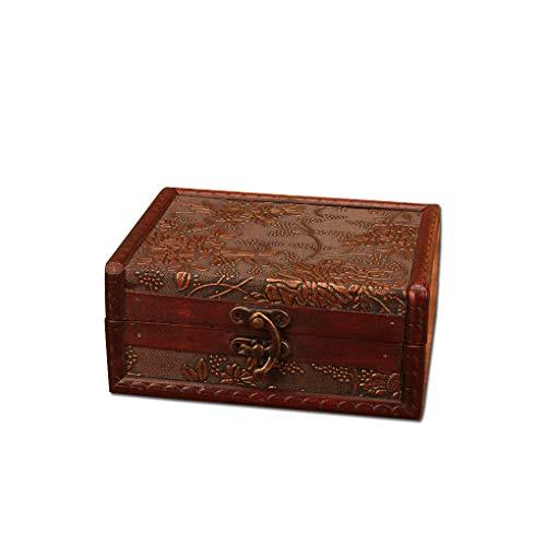 BAOZOON Wooden Treasure Box Decorative Pirate Small Wood Treasure Chest Jewelry Keepsake Box for Home Decoration