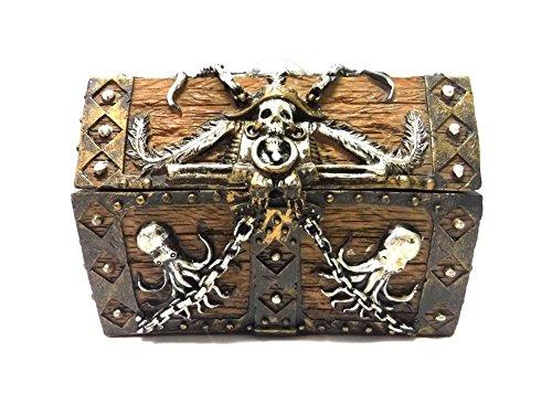 PTC 55 Inch Skull and Chain Pirates Chest JewelryTrinket Box Figurine