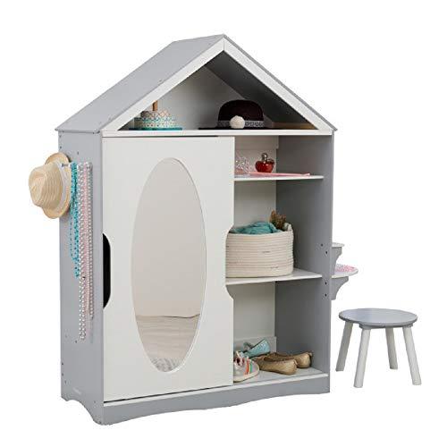 KidKraft Wooden Dress Up Armoire Vanity with Costume Storage Mirror Childrens Furniture