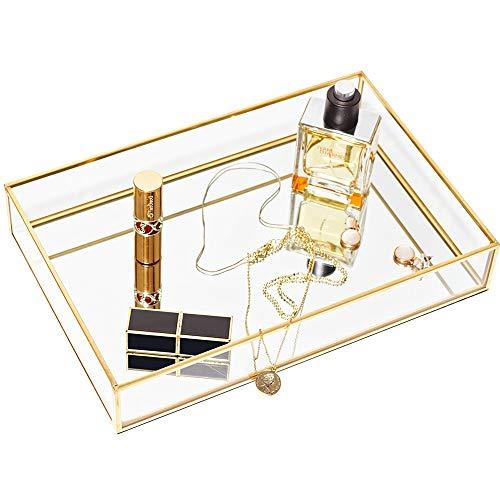 CHICHIC Gold Mirror Tray Jewelry Organizer Vanity Tray Jewelry Tray Perfume Tray Dresser Tray Decorative Tray Glass Metal Makeup Tray for Bathroom Bedroom Cosmetics Storage 118 x 79 Inch