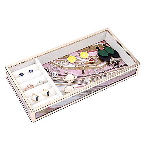 DesignSter Vanity Glass Dresser Tray - Premium Gold Quicksand Jewelry OrganizerHandmade Velvet Earring Ring StoragePink Vintage Perfume Makeup Brush Tray