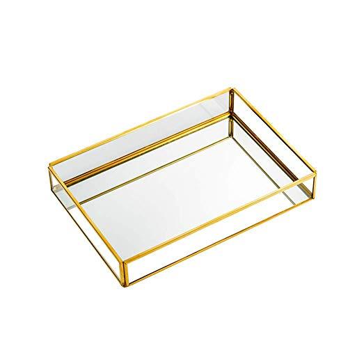Gold Mirror Tray Vintage Glass Tray Mirrored Tray Decorative Tray Perfume Tray Dresser Tray Jewelry Makeup Vanity Organizer Ornate Vanity Décor for Home Bathroom Hotel 8x55