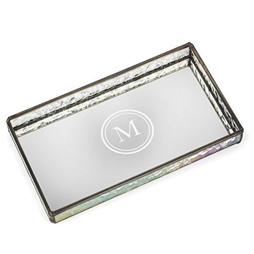 J Devlin TRA 101 ET104 Personalized Glass Jewelry Tray with Mirrored Bottom Engraved Monogram Dresser Vanity Organizer