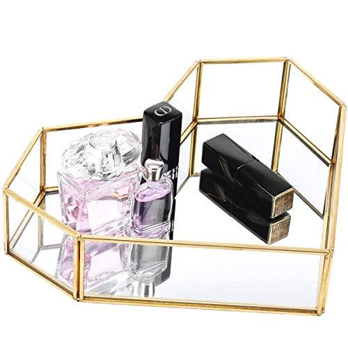 Pasutewel Gold Mirror Tray Perfume Tray Vanity Tray Metal Decorative Jewelry Perfume Organizer Makeup Tray for Dresser BedroomBathroom Size 4
