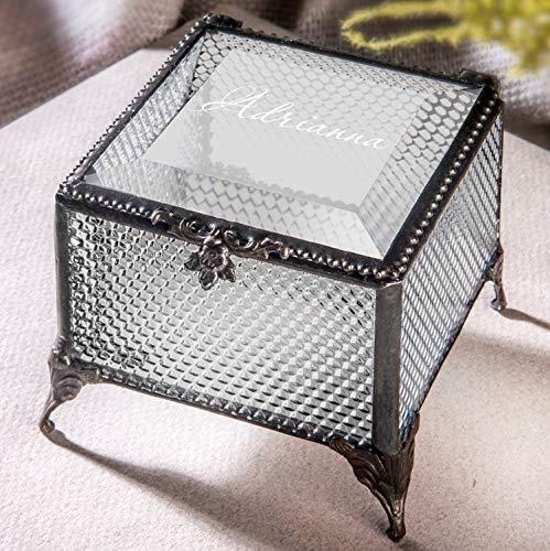 Personalized Clear Honeycomb Glass Box Decorative Vanity Display Case Storage Jewelry Organizer Keepsake Gift for Her Girl Women Vintage Decor J Devlin Ellen Box 825 EB245