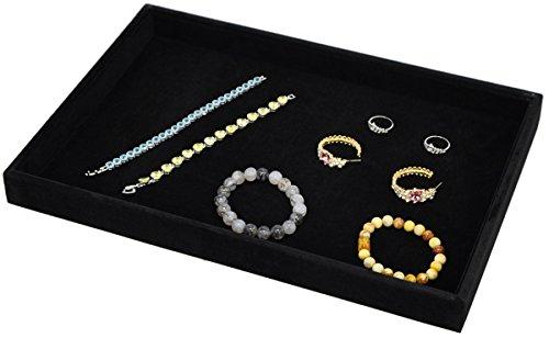 Stackable Black Soft Velvet Jewelry Tray Showcase Display Storage Organizer Functional
