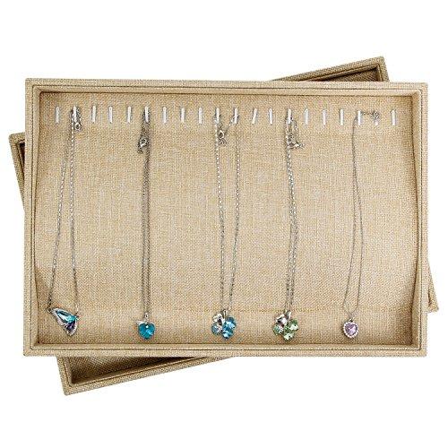 Valdler Sackcloth Stackable 20 Hooks Jewelry Tray Necklace Display Showcase Organizer