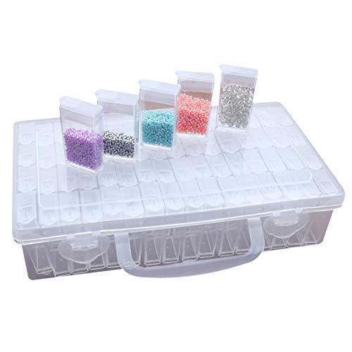Yeawooh 64 Grids Jewelry Dividers Box Transparent Plastic Storage Box Bead Jewelry Storage Box Gift